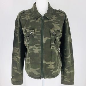 Good American Camo Full Zip Jean Jacket